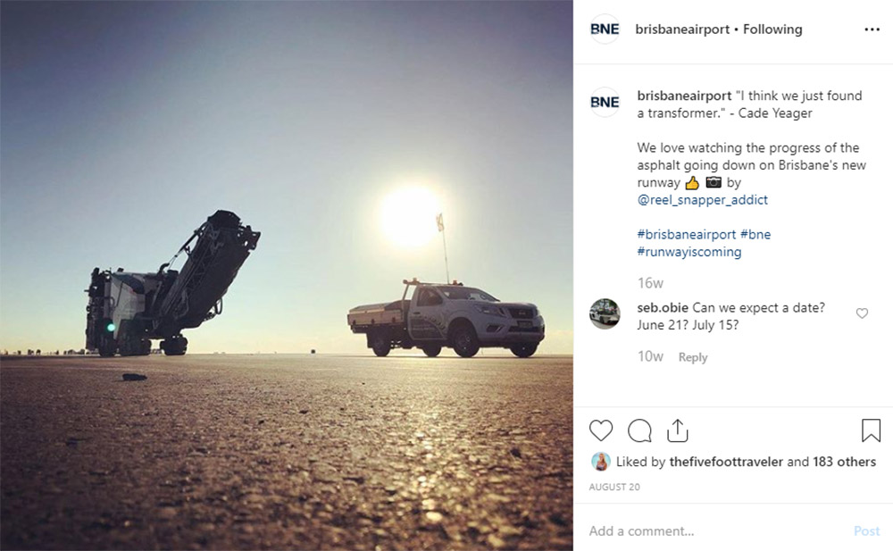 Media Mortar | Content Marketing Agency Brisbane | Instagram caption cures - Brisbane Airport New Runway