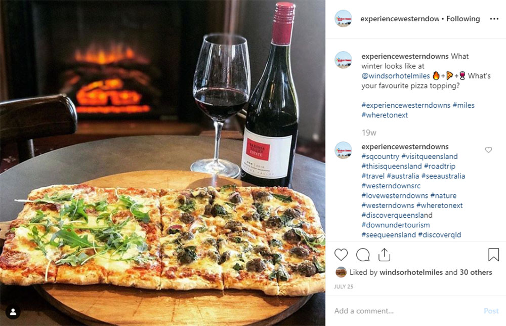 Media Mortar | Content Marketing Agency Brisbane | Instagram caption cures - Western Downs Windsor Hotel Miles