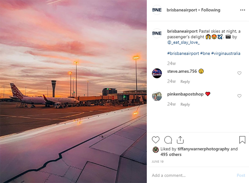 Media Mortar | Content Marketing Agency Brisbane | Instagram caption cures - Brisbane Airport Planes on a Runway